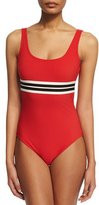 Karla Colletto Parallel Striped Band Round-Neck One-Piece Swimsuit
