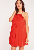Missguided Pleated Halterneck Swing Dress Red