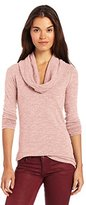 Three Dots Women's Long Sleeve Cowl Neck Tunic Sweater Slub