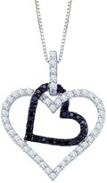 KATARINA and White Diamond Double Heart Pendant with Chain in 10K White Gold (1/2 cttw)