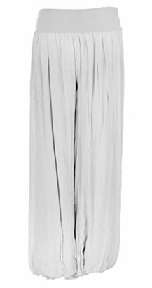 N A Collection Ladies Italian Lagenlook Quirky Layering Plain Silk Flap Waist Puffball Style Harem Trouser Leggings Joggers Pants Loose Baggy Plus Size 16-22 (Plus Size 16-22