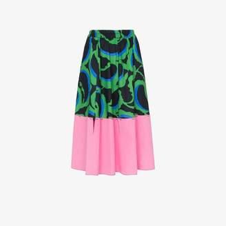 Marni Contrast hem printed midi skirt