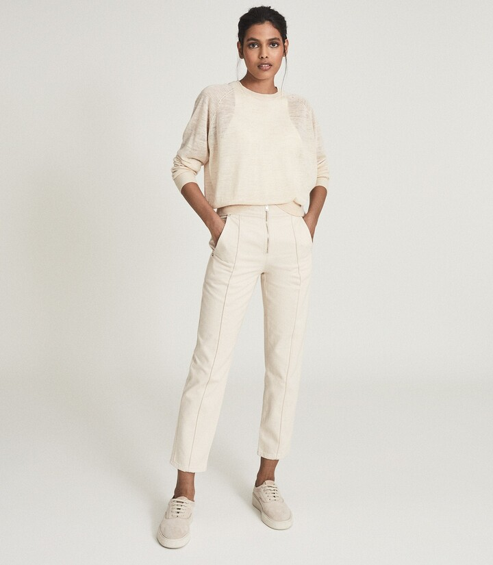 Thumbnail for your product : Reiss Zadie - Slim Cut Jeans With Exposed Zip Detail in Ecru