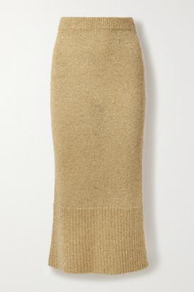 Altuzarra Kinsley Sequin-embellished Knitted Midi Skirt - Beige