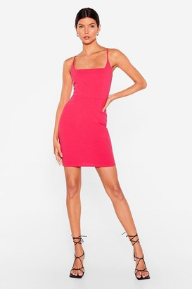 Nasty Gal Womens Red Mini Dress with Square Neckline - Cerise