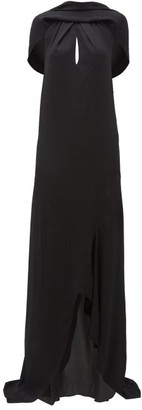 Roland Mouret Skylark Draped-shoulder Hammered Silk-blend Dress - Black