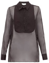Gabriela Hearst Oriana Embroidered-bib Organza Shirt - Womens - Black