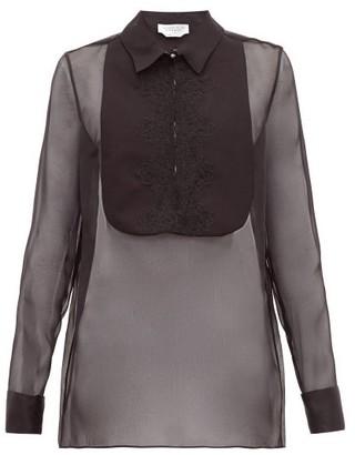 Gabriela Hearst Oriana Embroidered-bib Organza Shirt - Womens - Black