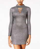 Material Girl Juniors' Metallic Lattice-Trim Bodycon Dress, Only at Macy's