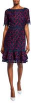 N. Shani Bateau-Neck Short-Sleeve Embroidered Lace Dress
