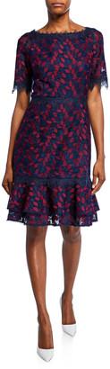 Shani Bateau-Neck Short-Sleeve Embroidered Lace Dress