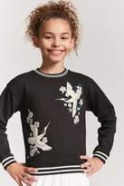 Forever 21 Girls Crane Graphic Sweater(Kids)