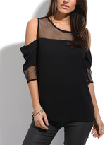 Solange Black Mesh-Panel Cutout Top