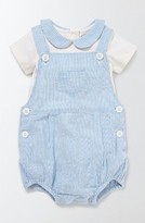 Infant Boy's Mini Boden Ticking Bodysuit & Romper Set