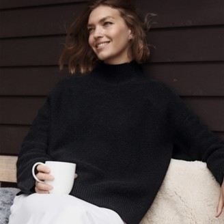 The White Company Garter-Stitch Jumper with Cashmere, Black, Extra Small