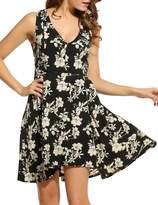 ACEVOG Women's Floral Printed V Neck Sleeveless Garden Party Swing Dress ( XL)