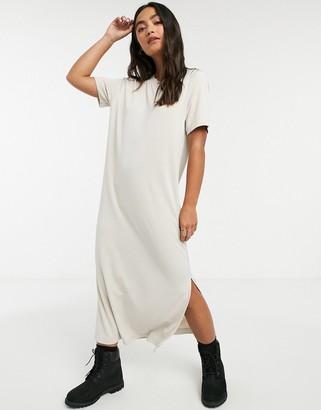Monki Isabella midi t-shirt dress in beige