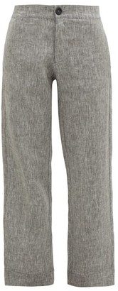 Asceno - Antibes High-rise Linen Trousers - Womens - Grey