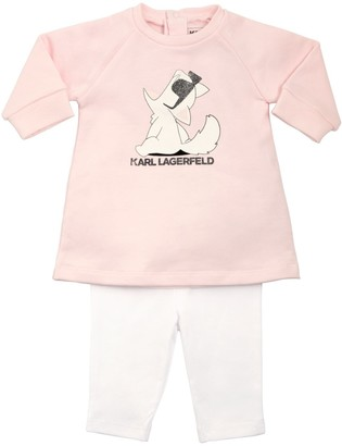 Karl Lagerfeld Paris Choupette Cotton Blend Dress & Leggings