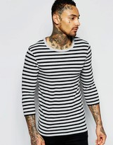 Asos Extreme Muscle 3/4 Sleeve T-shirt With Stripe