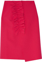 MSGM Asymmetric Ruffled Stretch-crepe Wrap Skirt - Pink