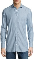 Luciano Barbera Paisley-Print Cotton Sport Shirt, Blue