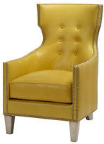 Massoud Furniture Jonty Wingback Chair - Yellow Leather