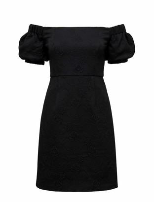 Forever New Sue Petite Puff Sleeve Bardot Dress - Black - 12