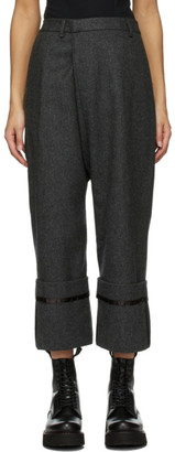 R 13 Grey Wool Tailored Cross Over Trousers