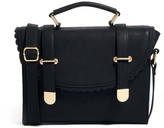 Asos Satchel Bag With Scallop Flap And Metal Tips - Black