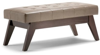 Ash Brooklyn + Max Baxter 40 inch Wide Mid Century Modern Rectangle Ottoman Bench in Blonde Faux Leather
