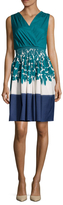 Prada V-Neck Print Smocked Dress