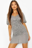 boohoo Gingham Ruched Bodycon Jersey Dress
