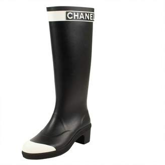 Chanel Black Plastic Boots