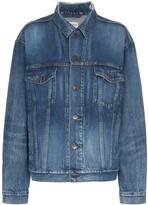 Balenciaga blue long sleeve logo print denim jacket