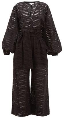 Rhode Resort Blake Eyelet-lace Cotton Jumpsuit - Black