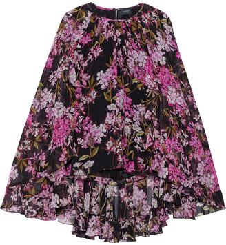 Giambattista Valli Cape-effect Floral-print Silk-georgette Blouse