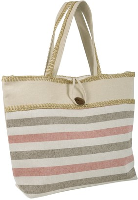 Lazy Beach Bag Women's Ladies Canvas Beach Shoulder Bag Handbag Shopping Tote Holiday Stripe Pink/Brown