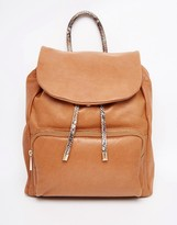 Urban Code Urbancode Leather Backpack With Color Pop Handle