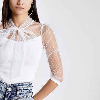 River Island White mesh puff sleeve tie neck blouse