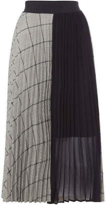 Marella Checked pleated midi skirt