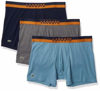 Lacoste Underwear Men's Casual Lifestyle Neon Waistband 3Pack Cotton Stretch Boxer Briefs