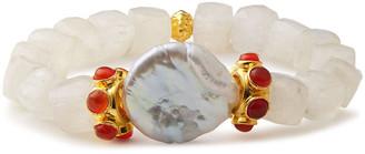 Bounkit 14-karat Gold-plated Moonstone, Pearl And Labradorite Bracelet