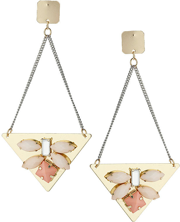 Topshop Pink beaded triangle earrings