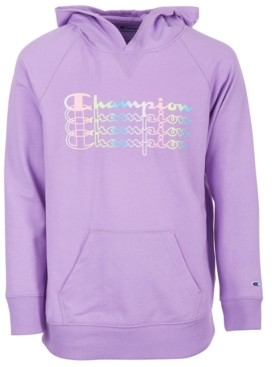 Champion Big Girls Ombre Stacked Logo Script French Terry Hoodie
