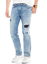True Religion Geno Distressed Embroidered Patched Slim-Straight Jeans