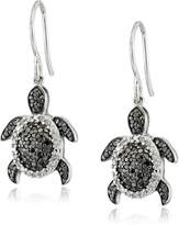 Amazon Collection Sterling Silver Black and White Diamond Turtle Earrings (1/2 cttw, Color, I2-I3 Clarity)
