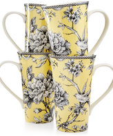 222 Fifth Fine China 4-Pc. Adelaide Yellow Latte Mugs