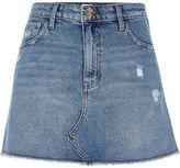 River Island Womens Mid blue denim distressed mini skirt