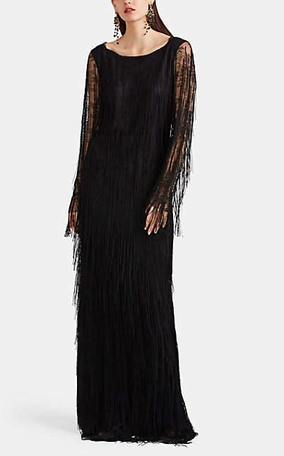 Alberta Ferretti Women's Fringed Lace Gown - Black